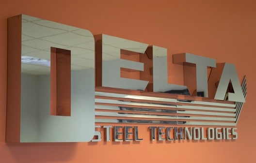Delta Steel Technologies Chrome Logo Sign